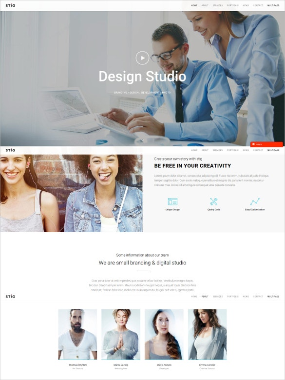 one page responsive wordpress website theme