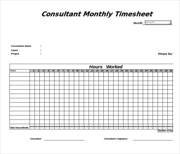12 Consultant Timesheet Templates Free Sample Example Format – Time Sheet Template