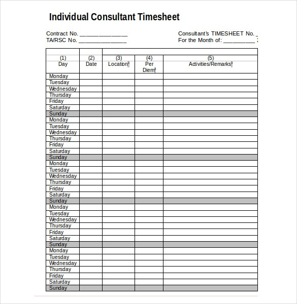 consultant timesheet template download in word format