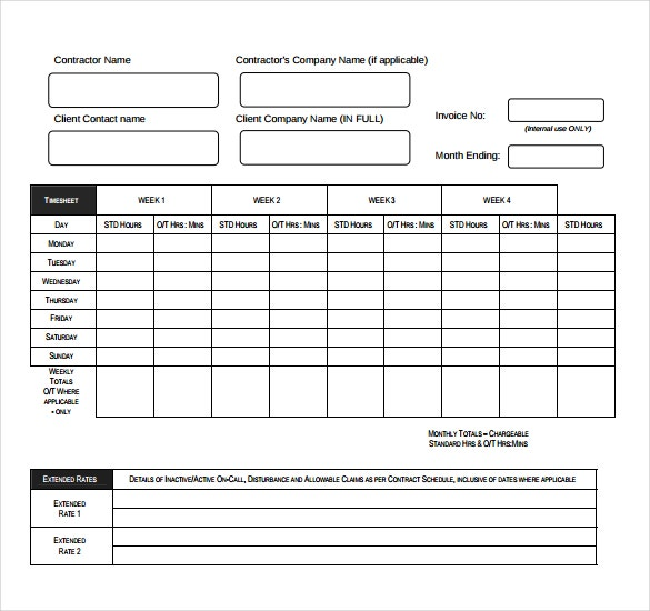 timesheet invoice template free download in pdf