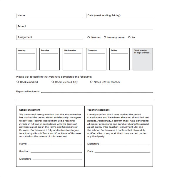 school timesheet invoice template download in pdf