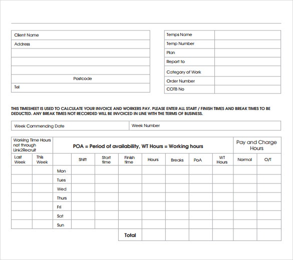 Timesheet Invoice Templates Free Sample Example Format - Timesheet and invoice