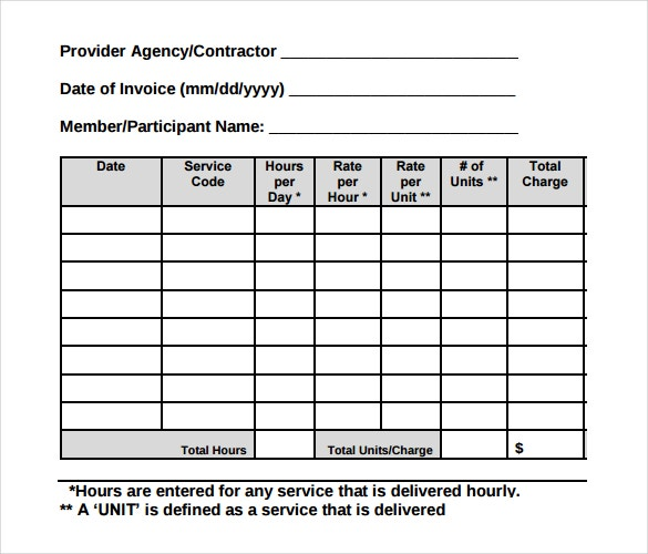 contractor timesheet invoice template