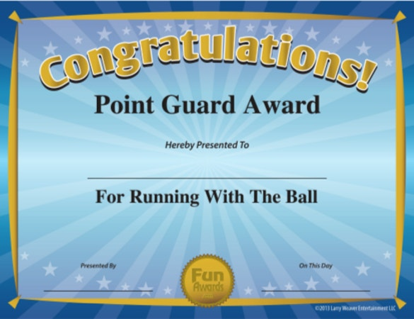 funny sports award sample pdf template