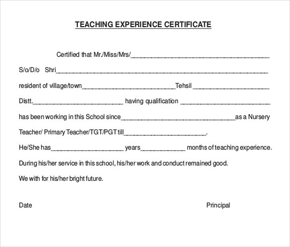 teaching experience award certificate free pdf download
