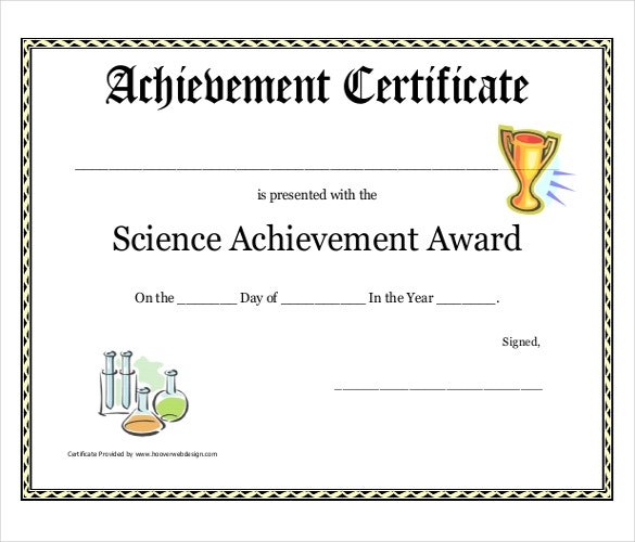 science achievement award printable certificate pdf download
