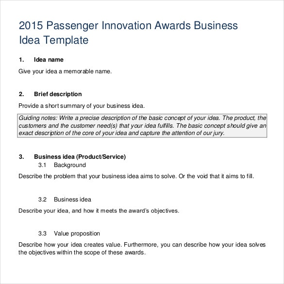 passenger innovation awards business idea template pdf