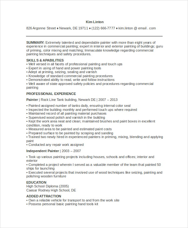 automotive painter resume sample