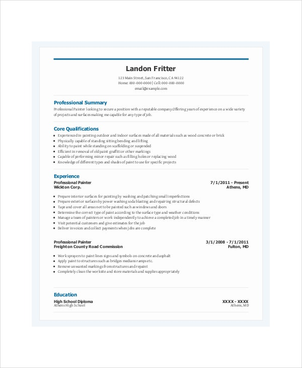 professional painter resume template
