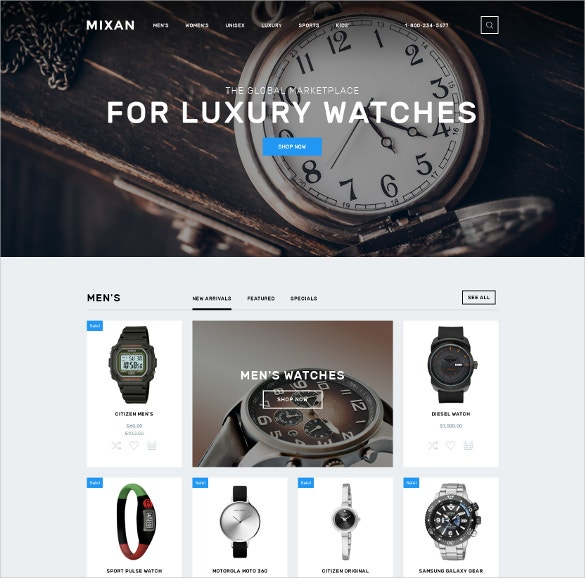 Fashion Watches Shop OpenCart Website Template $89