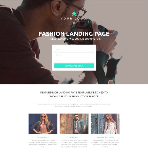 Fashion Photography Moto CMS 3 Website Template $199