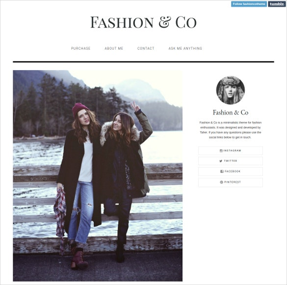 fashion tumblr website theme