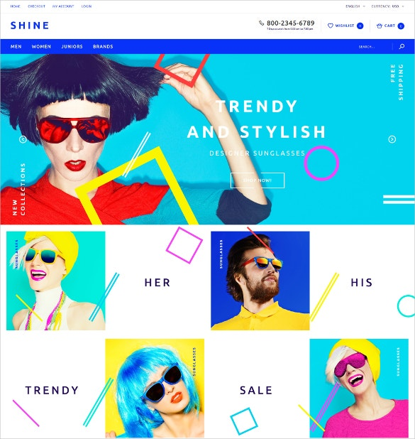 Fashion Sunglass OpenCart Website Template $89
