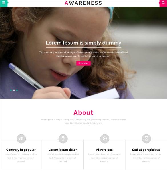 Awareness Schol Bootstrap Website Template