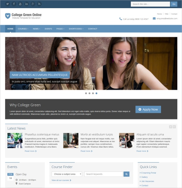 School & College Education Website Template $20