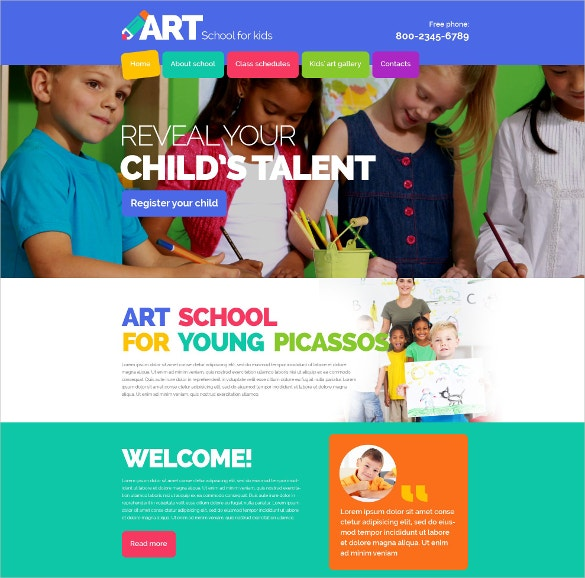 children art school website template 69