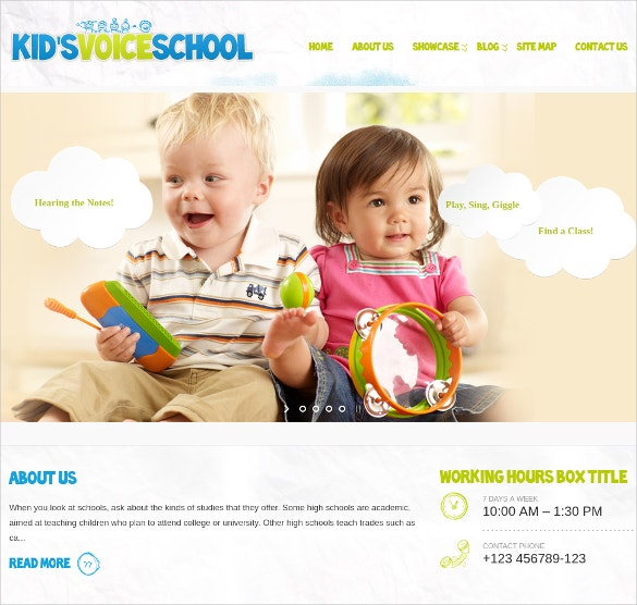 Kids Voice School WordPress Website Theme $44