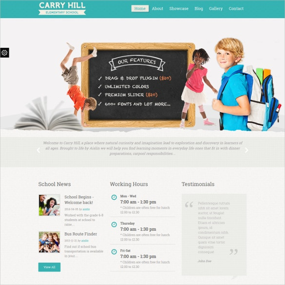 Kids School WordPress Website Theme $49