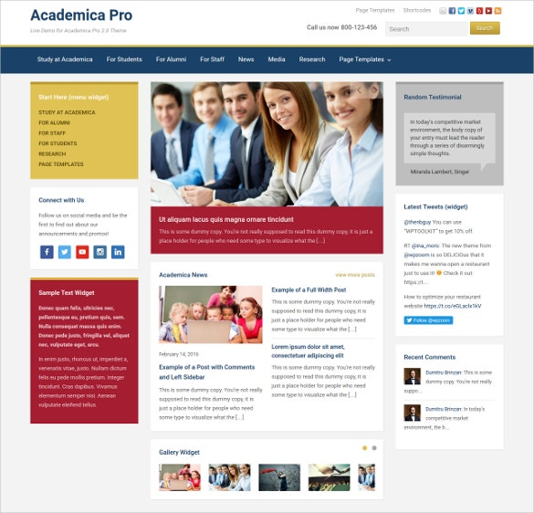 Modern School Website Theme $69