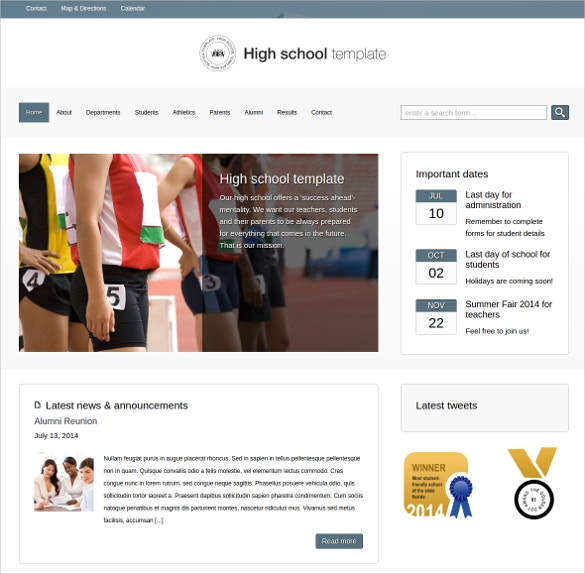 High School WordPress Website Theme $75