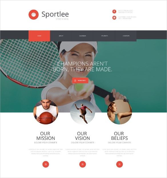 tennies sport school responsive website template 75