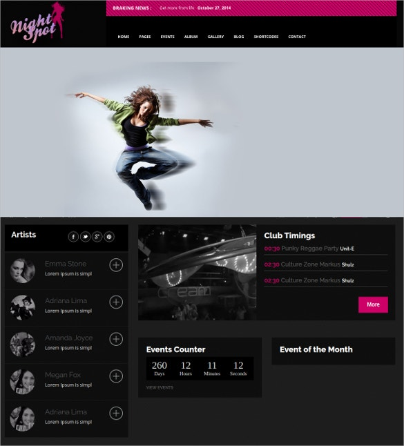 Night Club DJ Responsive WordPress Website Theme $44