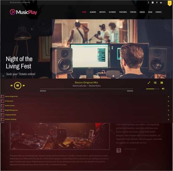 music dj responsive wordpress website theme 49