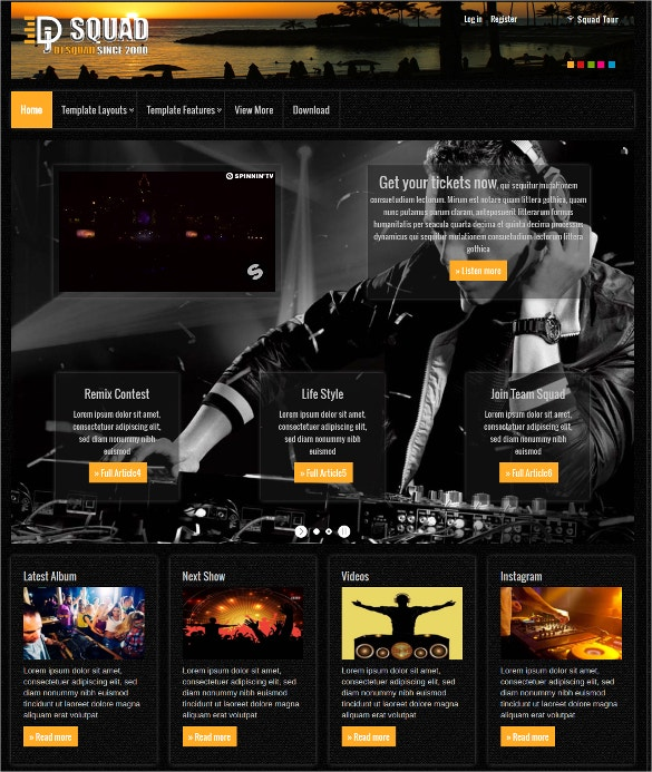 dj free joomla website template download