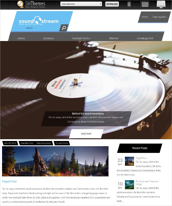 free sound stream wordpress website theme