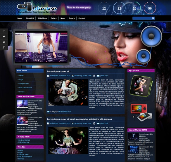 dj free joomla template website download
