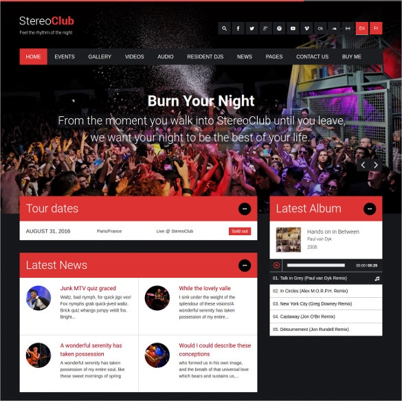 nightclub dj wordpress website theme