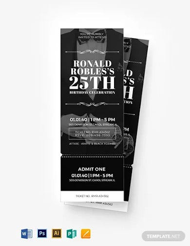 blank birthday ticket template