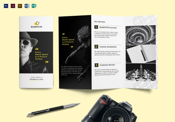 blank photography tri fold brochure template
