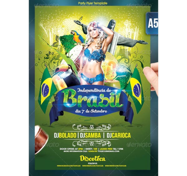 brasil independence day flyer template
