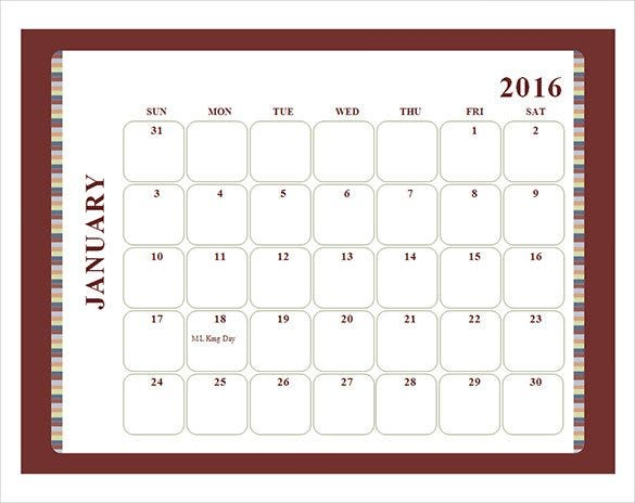 brown border 2016 monthly calendar template free d