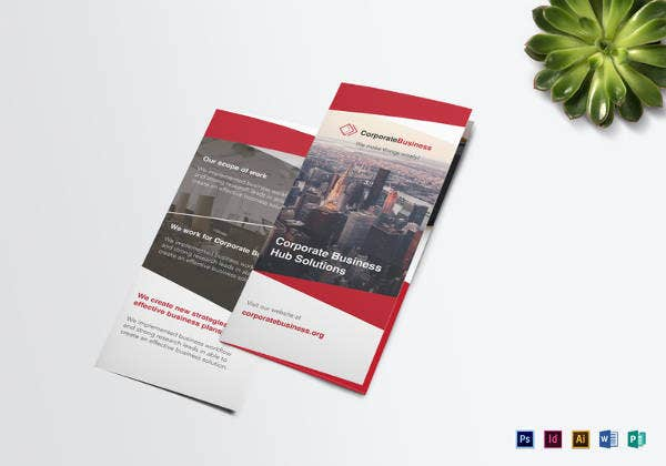business corporate tri fold brochure template
