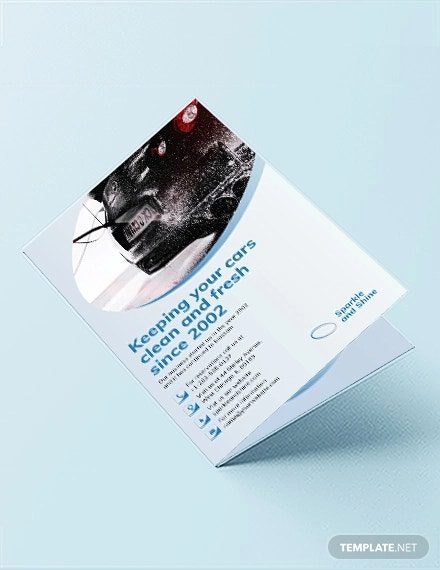 car wash bi fold brochure template