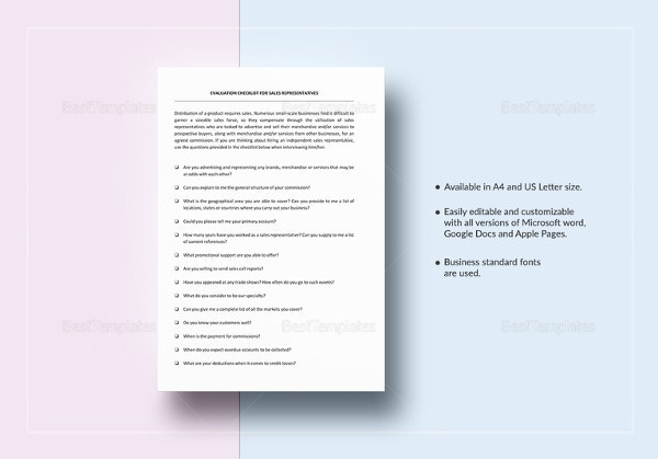 checklist-sales-representative-evaluation-template