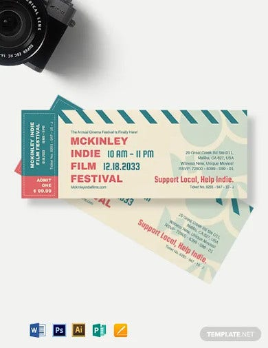 cinema event ticket template