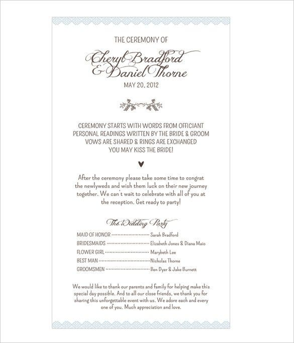 classic wedding program template for download1