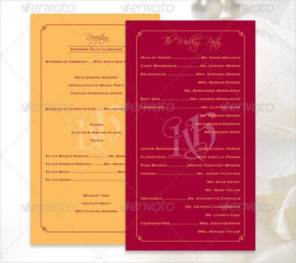 colorful wedding program template for download1