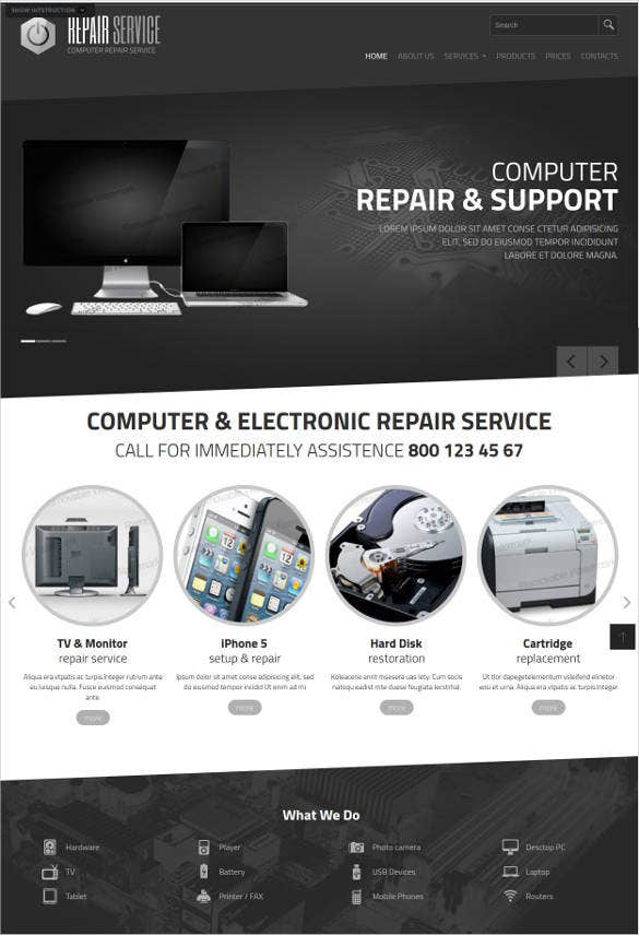 computer electronic repair website template