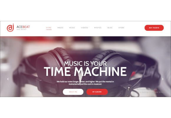 dj personal page wordpress theme for