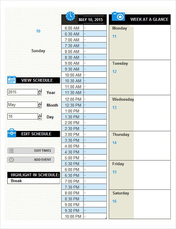 daily activity log template with calendar1