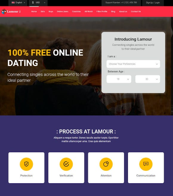 dating website html5 template