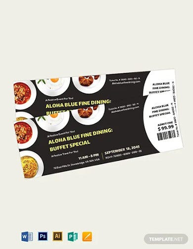 dinner event ticket template