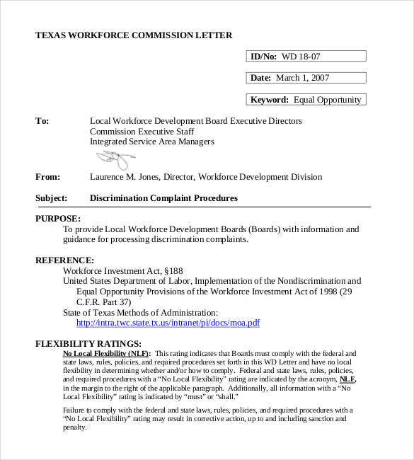 discrimination complaint letter to workplace free download