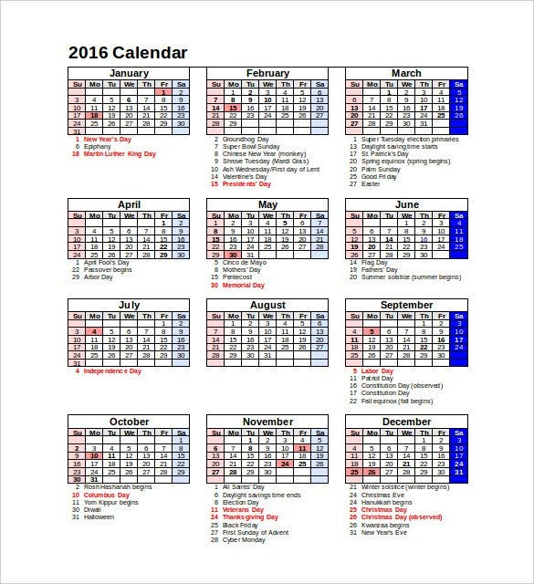 download 2016 calendar portrait holidays festivals
