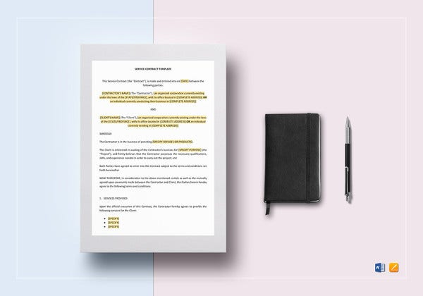 easy to print service contract template