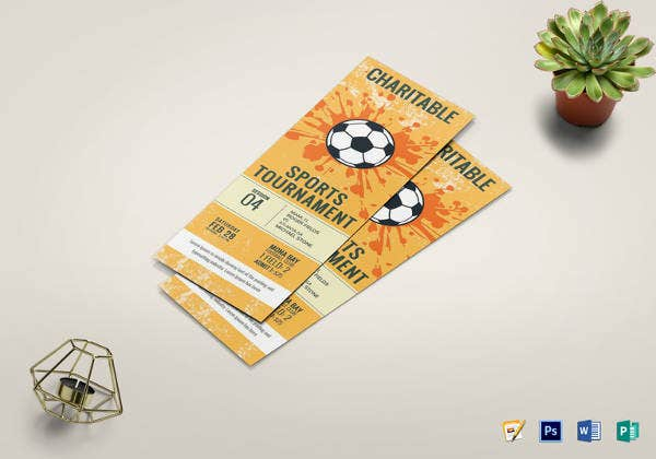 editable football tournament ticket